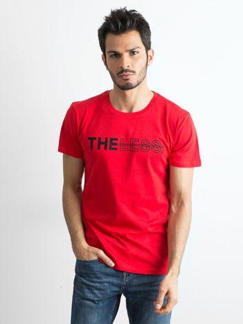 Czerwony bawełniany t-shirt męski z nadrukiem