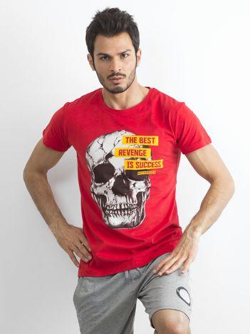 Czerwony bawełniany t-shirt męski z printem