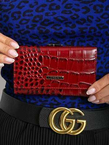 Czerwony damski portfel skórzany z motywem zwierzęcym