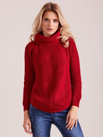 Czerwony damski sweter golf