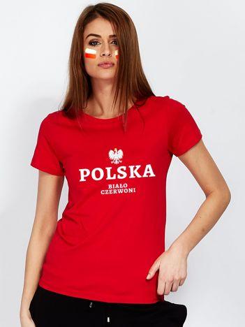 Czerwony damski t-shirt dla kibica z napisem