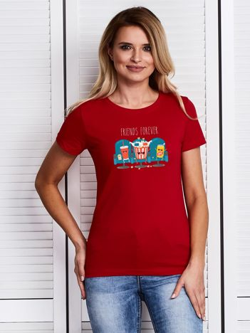 Czerwony damski t-shirt z kinowym nadrukiem popcornu