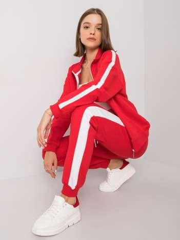 Czerwony komplet damski z lampasami Aliana