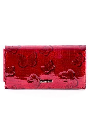 Czerwony lakierowany portfel skórzany w motyle