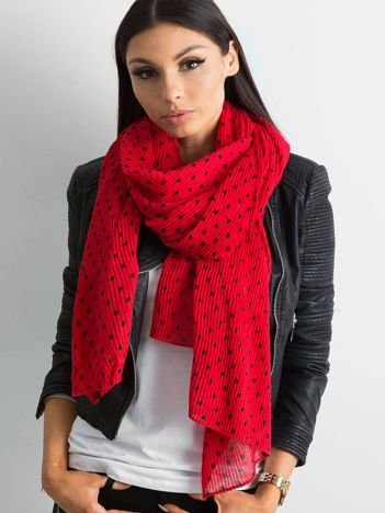 Czerwony plisowany szalik w groszki