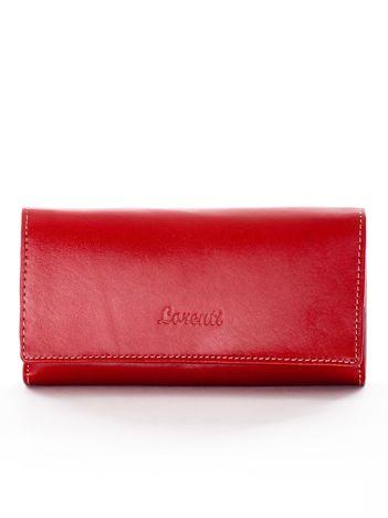 Czerwony podłużny portfel ze skóry naturalnej