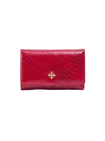 Czerwony portfel damski ze skóry ekologicznej
