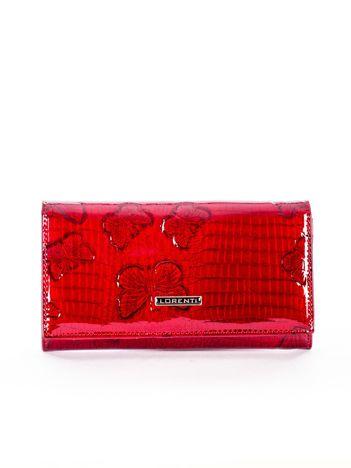 Czerwony portfel skórzany w motyle