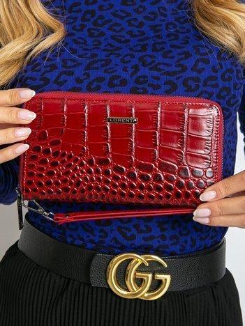 Czerwony skórzany portfel z odpinanym uchwytem