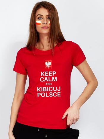 Czerwony t-shirt KEEP CALM AND KIBICUJ POLSCE