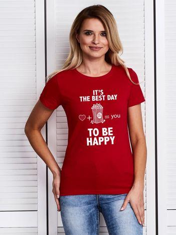 Czerwony t-shirt damski dla miłośniczki popcornu