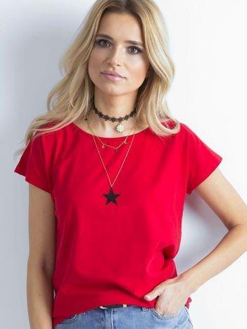 Czerwony t-shirt damski z bawełny