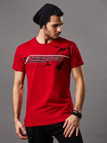 Czerwony t-shirt męski z kolorowym napisem