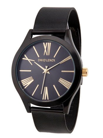 DAVID LENOX Zegarek damski czarny na bransolecie typu MESH Eleganckie pudełko prezentowe w komplecie