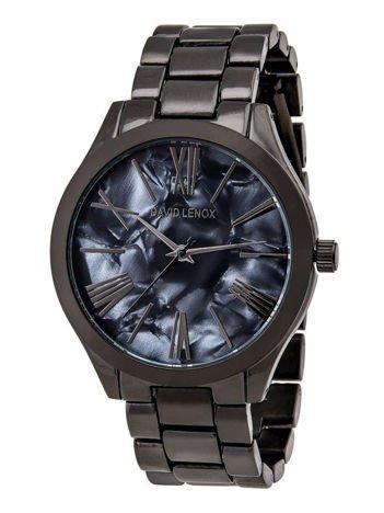DAVID LENOX Zegarek damski czarny z opalizującą marmurkową tarczą na bransolecie Eleganckie pudełko prezentowe w komplecie