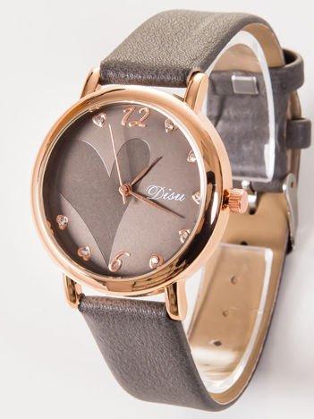 DISU LOVE Elegancki szary zegarek damski z sercami