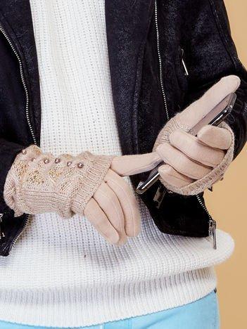 DOTYKOWE Beżowe Rękawiczki MITENKI Zdobione Perłami