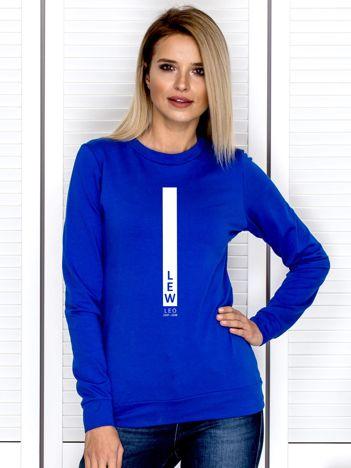 Damska bluza ze znakiem zodiaku LEW kobaltowa