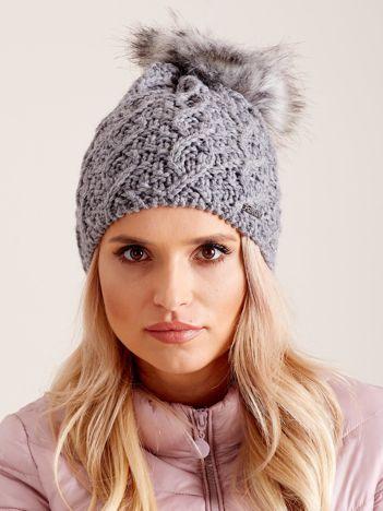 Damska czapka na zimę szara