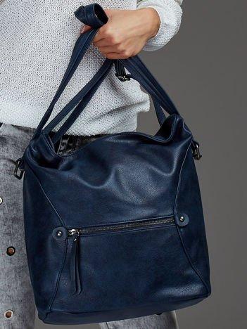 Damska torba shopper z ozdobnymi suwakami niebieska