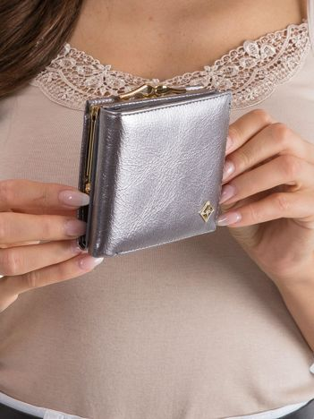 Damski portfel z ekoskóry srebrny