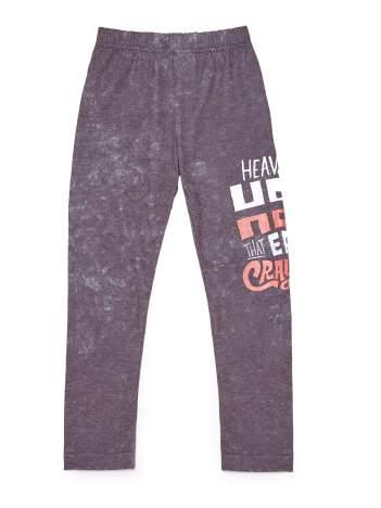 Dekatyzowane legginsy dziewczęce z nadrukiem tekstowym brązowe