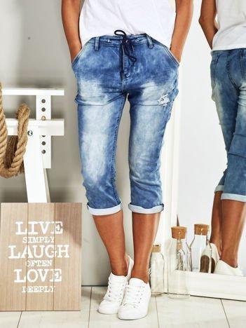 Dekatyzowane spodnie jeansowe ciemnoniebieskie