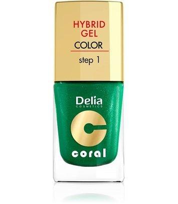 Delia Cosmetics Coral Hybrid Gel Emalia do paznokci nr 10 metaliczna butelkowa zieleń 11ml