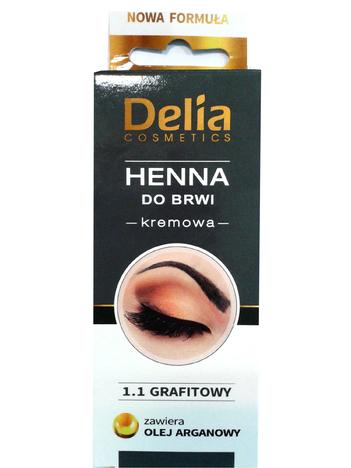 Delia Cosmetics Henna do brwi kremowa nr 1.1 grafitowa