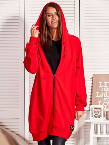 Długa bluza damska na suwak czerwona