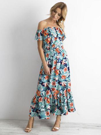 Długa sukienka w kwiaty miętowo-pomarańczowa