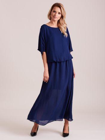 Długa zwiewna sukienka ciemnoniebieska