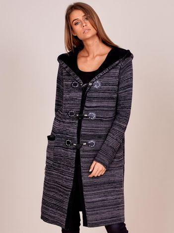 Długi ciemnoszary sweter z kapturem