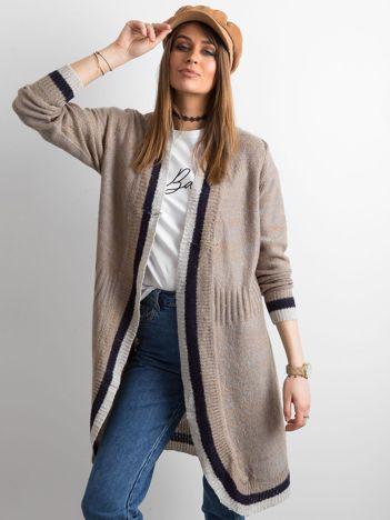 Długi sweter bez zapięcia beżowy
