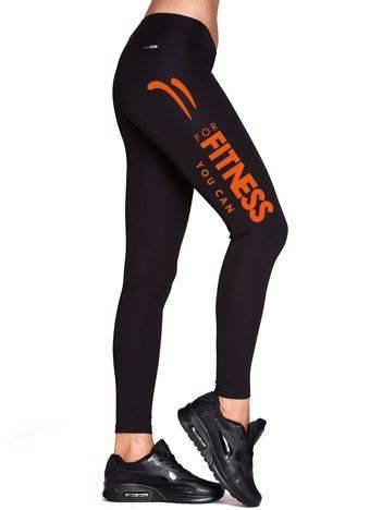 Długie legginsy do biegania z napisem FITNESS czarne