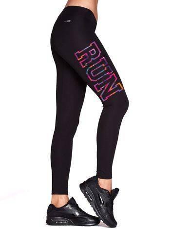 Długie legginsy do biegania z napisem RUN czarne