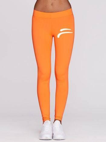 Długie legginsy do fitnessu z emblematem fluo pomarańczowe