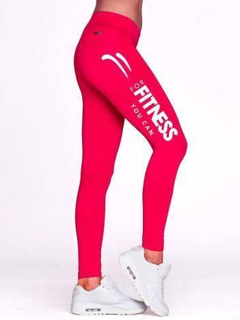 Długie legginsy do fitnessu z napisem FITNESS fuksjowe