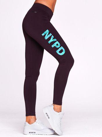 Długie legginsy fitness z moro napisem NYPD ciemnofioletowe