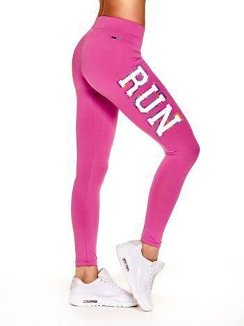 Długie legginsy na siłownię z napisem RUN ciemnoróżowe