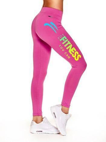 Długie legginsy sportowe z efektownym nadrukiem ciemnoróżowe