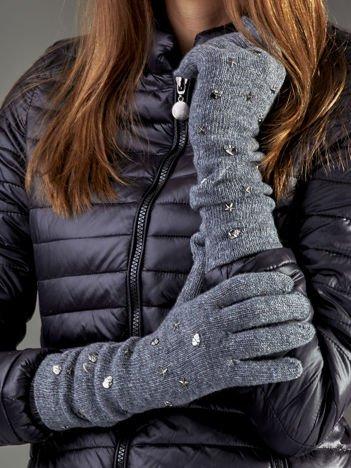 Długie rękawiczki z ćwiekami z domieszką wełny ciemnoszare