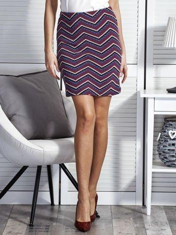 Dopasowana spódnica damska w etniczne motywy fioletowa