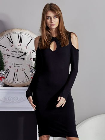 Dopasowana sukienka z wycięciami czarna