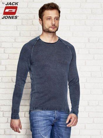 Dopasowany sweter męski granatowy