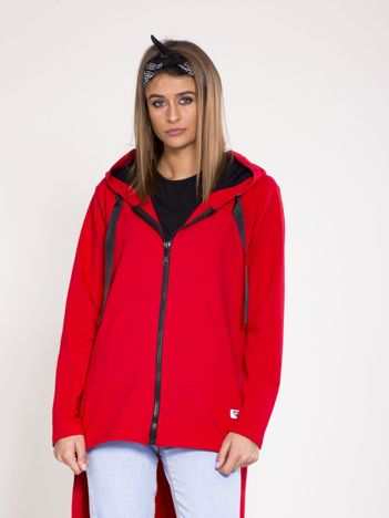 Dresowa asymetryczna bluza z kapturem czerwona