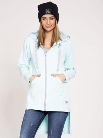 Dresowa asymetryczna bluza z kapturem jasnoniebieska