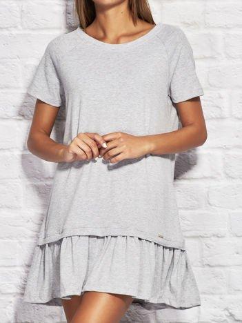Dresowa gładka sukienka z falbanką szara
