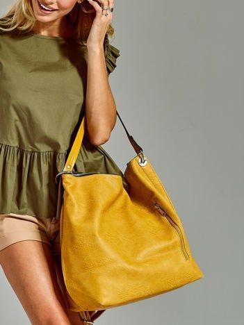 Duża torba skórzana shopper żółta