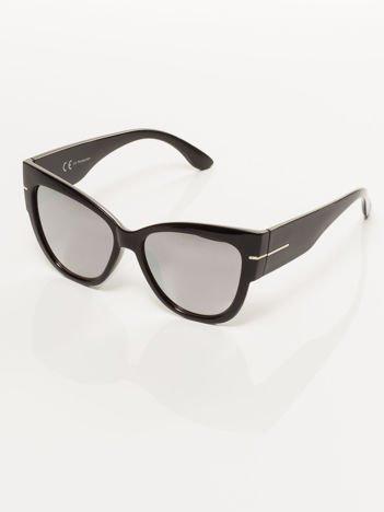 """Duże czarne eleganckie okulary przeciwsłoneczne """"KOCIE OCZY""""lustrzanki"""